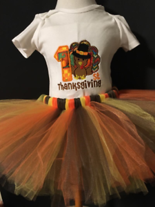 837be7778ebee My 1st Thanksgiving Shirt Tutu Outfit Set Party Holiday EMBROIDERED ...