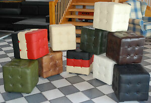 Chesterfield sgabello vera pelle panca sedile imbottito sedia