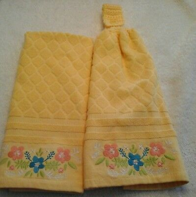 Double kitchen towel yellow flowers green leaves crocheted yellow top