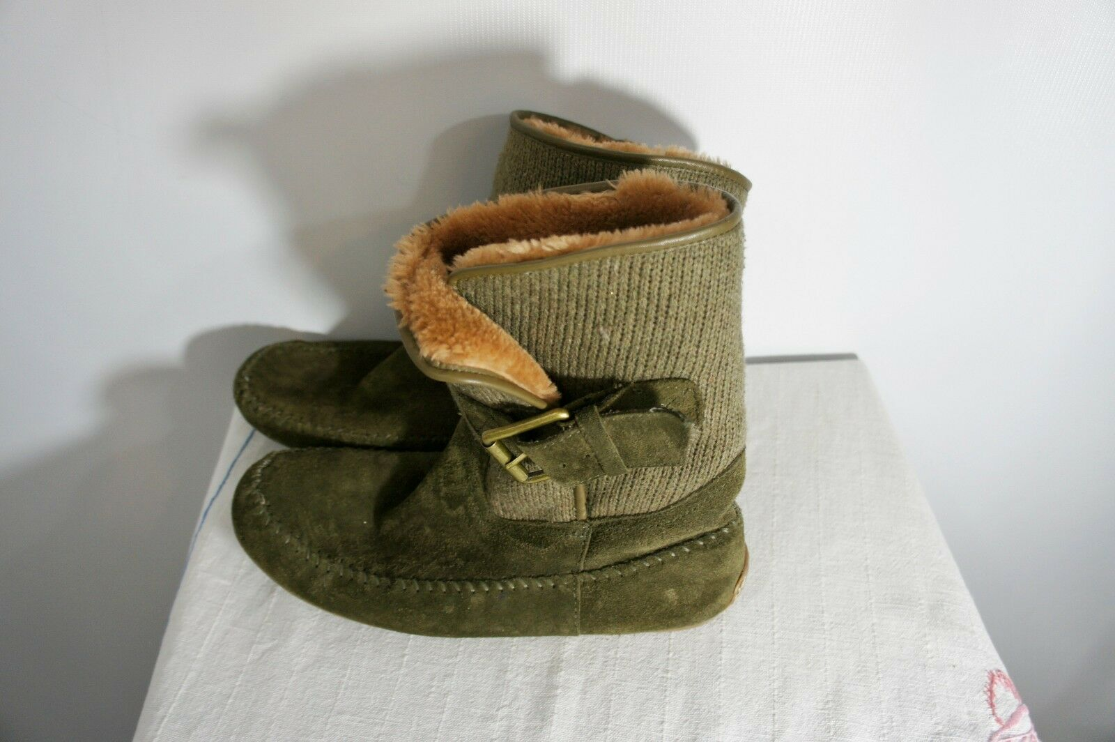 Lucky Brand Damens's Olive Green Aisley Sweater Suede Ankle Stiefel 8/38 faux fur