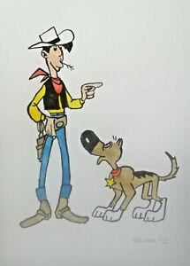 Unikat-Mooseart-Comic-Zeichnung-Lucky-Luke-Aquarell-Papier-21x30cm-Original