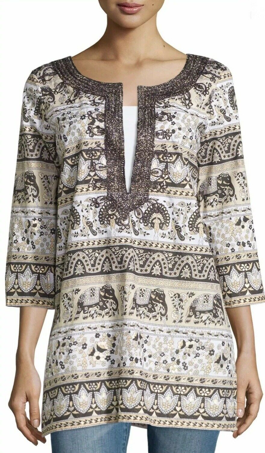 Calypso St Barth Olipant Printed Cotton Tunic Elephant Embroiderot M