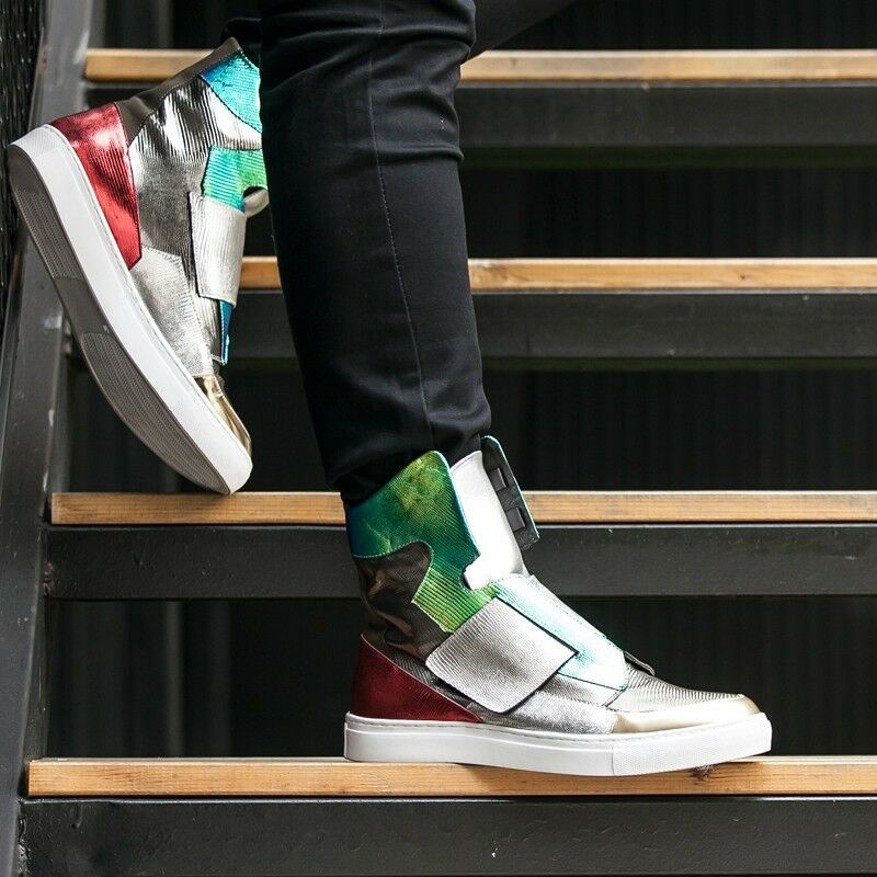Korean colorful Men Fashion Mid Top Personality Trend Sports shoes Flars Sneaker