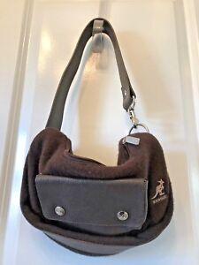 KANGOL-HANDBAG-Brown-Wool-and-Leather-pocket-Hobo-Shoulder-strap