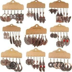 Fashion-Boho-Women-Wing-OWL-Earrings-Set-Antique-Ear-Stud-Drop-Dangle-Jewelry-UK