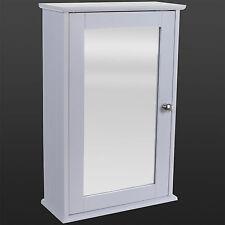 Bathroom Wall Cabinet Single Mirror Door White Wooden Cupboard Adjule Shelf