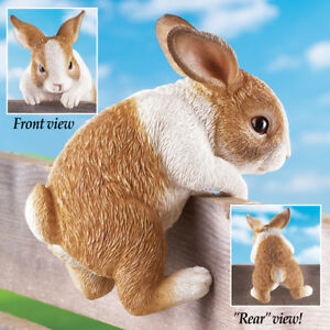 Baby-Bunny-Rabbit-Climbing-on-a-Fence-Garden-Yard-Statue-Decor