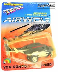 AIRWOLF-1984-Rough-Riders-Tri-Ex-LJN-Military-Bell-222-Helicopter-Vintage-MoC
