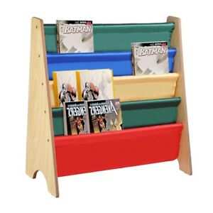 Image Is Loading Wooden Sling Fabric Bookcase Bookshelf Nature Magazine Book