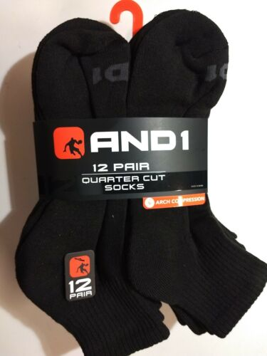 12 Pair AND1 Performance Quarter Cut Ankle Socks Black Size 6-12.5 AN6303001