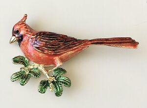 Vintage-style-cardinal-bird-brooch-pin-enamel-gold-Tone-Metal