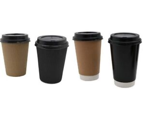 1000 Sets x 6oz TAN Single Wall Paper Coffee Cups And Lids 177ml Disposable