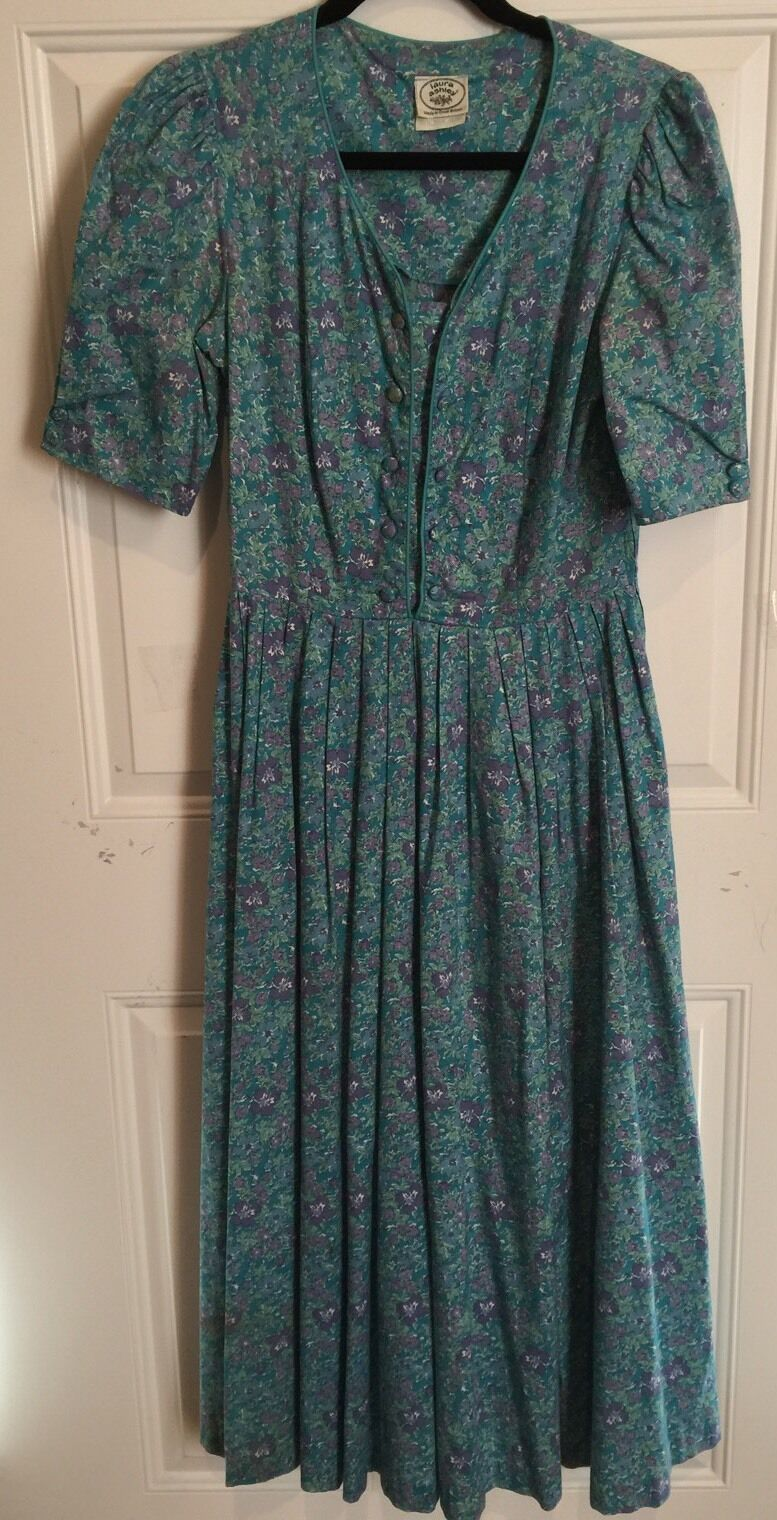 Vintage Laura Ashley Floral  Print Tea Dress Covered Buttons seem 12 US Chest 34