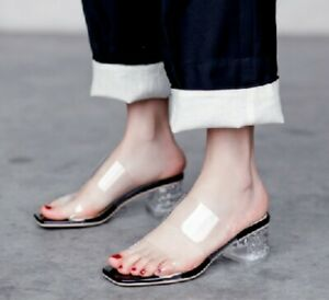 Womens-Transparent-Med-Block-Heels-Sandals-Slippers-Strappy-Open-Toe-Shoes-New