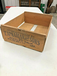 BS4-Vintage-T-Apkarian-and-Sons-Wooden-wood-box-Reedley-California-CA-nice-cond