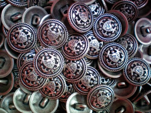 15mm 24L Antique Silver Effect Metal Military Coat of Arms Shank Buttons M24