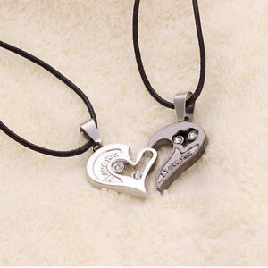 Unisex lover couple necklace i love you heart pendant stainless image is loading unisex lover couple necklace i love you heart mozeypictures Image collections