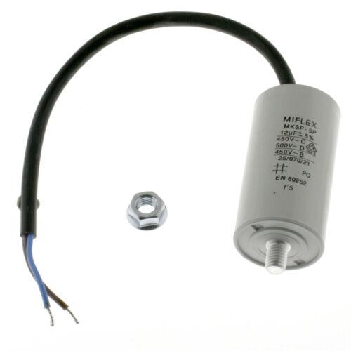 Capacitor arranque motor condensador 12µf 450v 35x65mm m8 de tubería Miflex 12uf