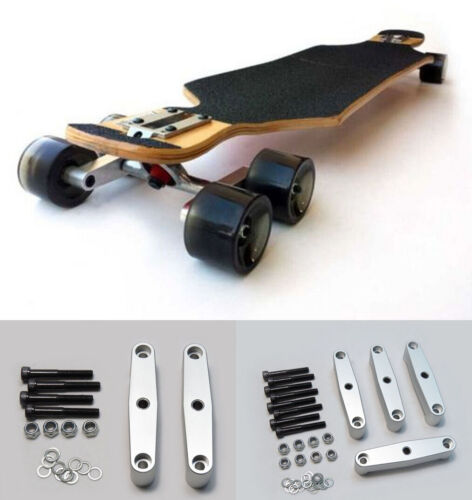 Silver Alloy Tandem Axle Wheel Kit Set for Skateboard Cruiser Longboard Truck