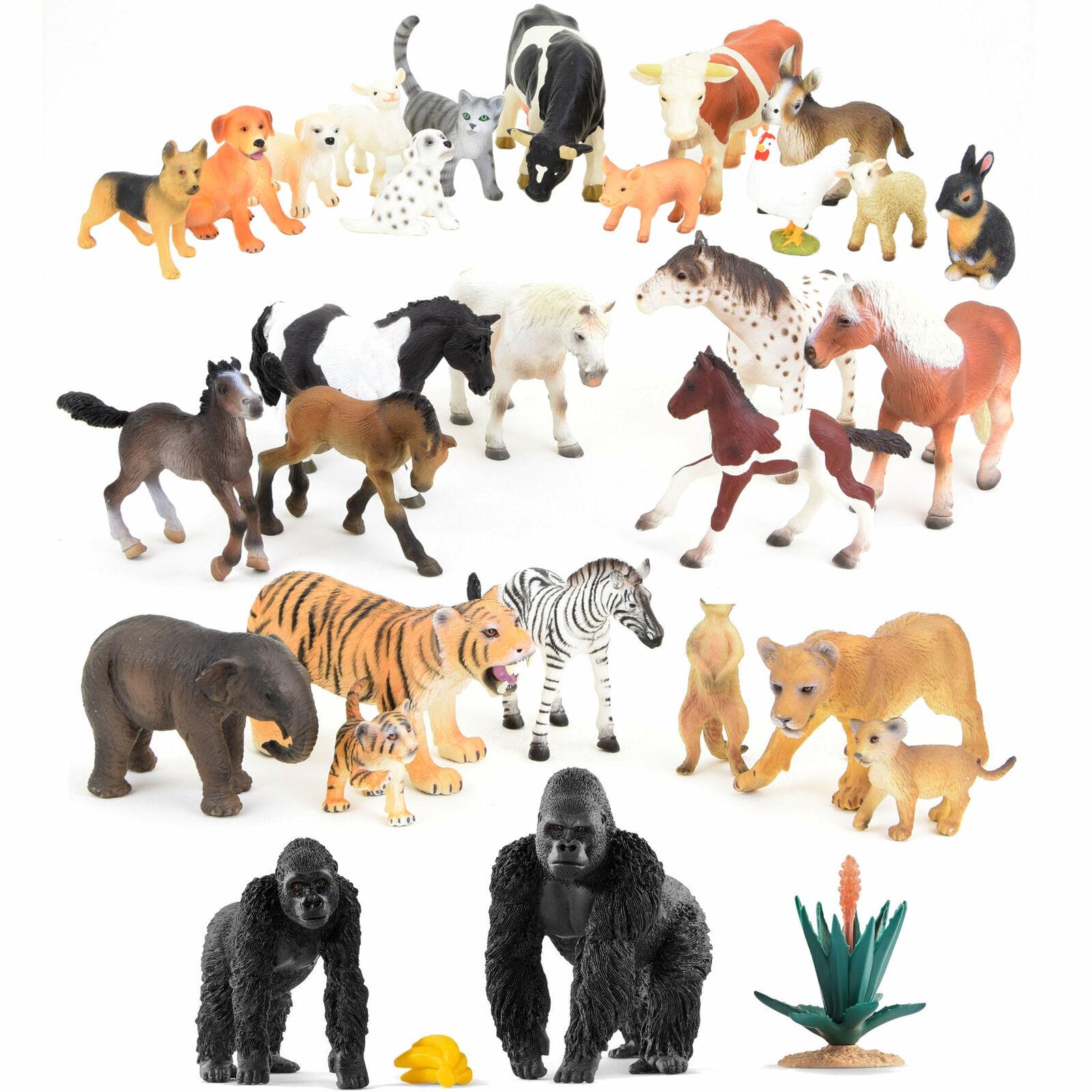 Figure di Animali Personaggi Gioco Set Fattoria Africa Asia Wildnis Cavalli
