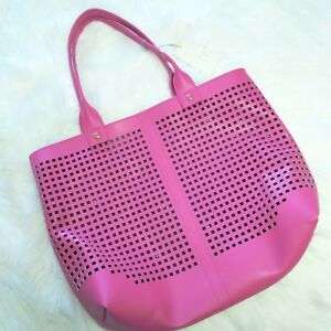 39c97263965 Details about NWT A New Day Laser Cut Tote Bag Women's Handbag with Cloth  Zip Bonus Bag, Pink