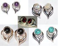 925 Silver Heart Earrings: Moonstone, Turquoise, Black Onyx, Amethyst, Garnet
