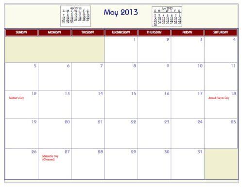2021 Printable PDF Wall Calendar 2019 2020 plain, no holidays 2022..etc