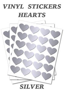 25mm Silver Heart Stickers Self Adhesive Waterproof Vinyl Labels pack of 100