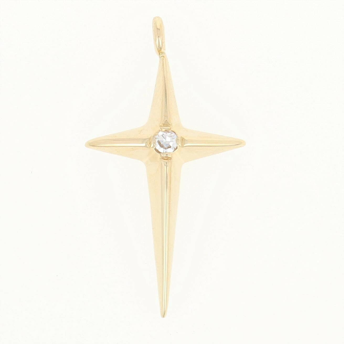 Tapered Cross Pendant - 14k Yellow gold Diamond-Accented Faith Gift