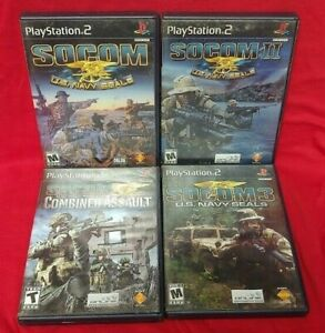 SOCOM-1-2-3-4-Navy-SEALs-Combined-Assault-PS2-Playstation-2-Tested-4-Game-Lot