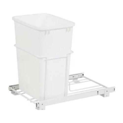 White Pullout Waste Container Rev-A-Shelf RV-18PB-1 Single 35 Qt