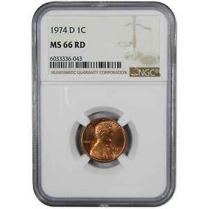 1974 D Lincoln Memorial Cent MS 66 RD NGC Copper Alloy Penny 1c US Coin