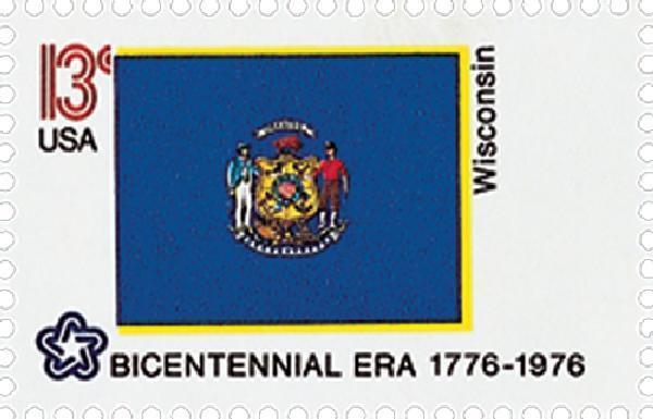1976 13c Wisconsin State Flag, Bicentennial Era Scott 1