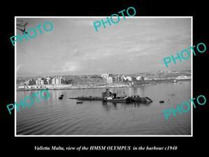 OLD-POSTCARD-SIZE-PHOTO-VALLETTA-MALTA-THE-HMSM-OLYMPUS-IN-HARBOUR-c1940