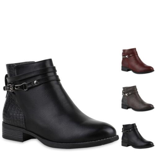 893277 Damen Klassische Stiefeletten Kroko Schnallen Leder-Optik Schuhe New Look