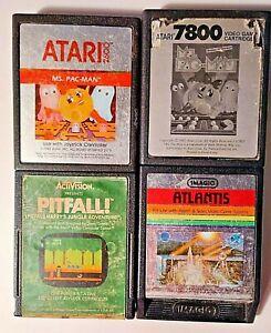 Lot-Atari-Game-AS-IS-Ms-PacMan-7800-amp-2600-Pitfall-Atlantis-Used