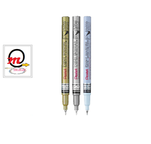 Pentel Permanent Paint Markers  Extra Fine SILVER+GOLD+WHITE 1.0mm Tip MFP-10