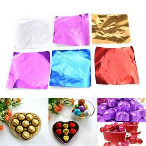 100pcs Set Square Foil Wrappers Package for Sweets Candy Chocolate Lolly Party