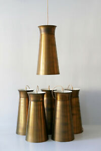 ONE of SIX Mid Century Modern BRASS Hanging Lights PENDANT LAMPS 1950s GERMANY