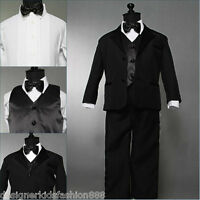 Well tailored toddler baby boy Black tuxedo wedding formal suit party size 2T