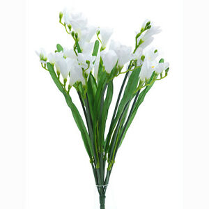 Artificial silk freesia white bunch wedding flowers 20 inches image is loading artificial silk freesia white bunch wedding flowers 20 mightylinksfo
