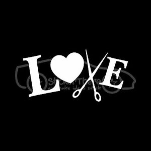 love to cut hair sticker stylist scissors vinyl decal wall decor barber salon ebay. Black Bedroom Furniture Sets. Home Design Ideas