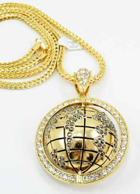 "Hip Hop 3D Icy World Pendant GOLD Plated Necklace 36""Franco Chain Bling"