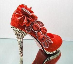 Wedding Bridal Shoes womens High Heels Red Vogue Flowers Crystal rhinestone new