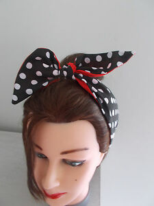 BLACK POLKA DOT HAIR BAND RED SPOT ROCKABILLY NECK SCARF TIE PIN UP ... 2edad06ba09