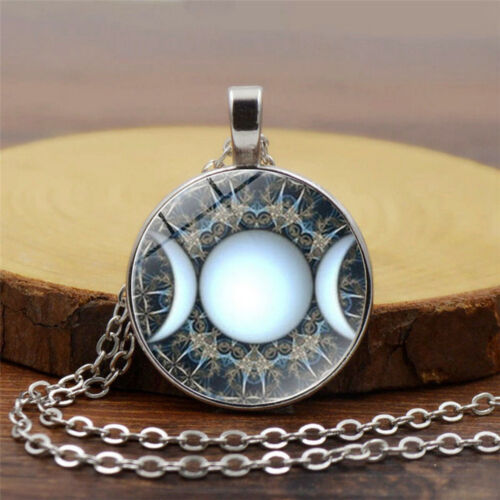 moon goddess necklace triple moon necklace Crystal amulet witch jewelry protection amulet Purple labradorite necklace