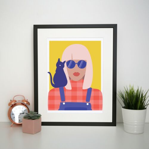 Stylish girl with cat illustration graphic print poster framed wall art decor