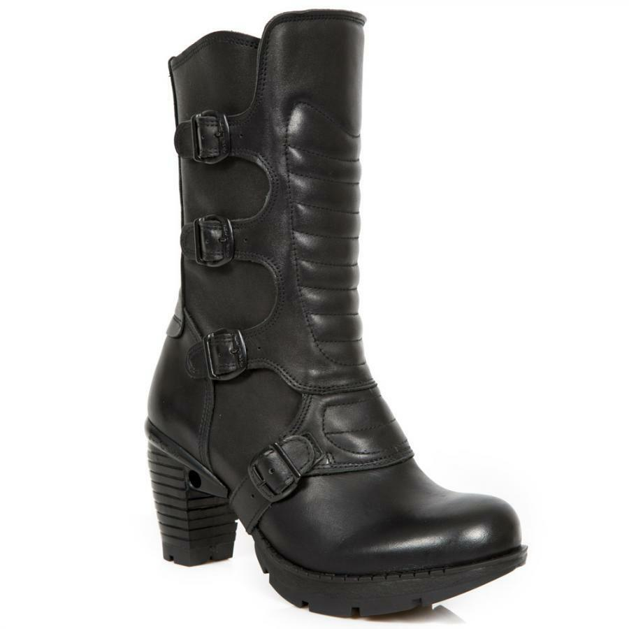 Bota de tacón PIEL NEW ROCK Negro Black leather heel boot M.TR003X-S1