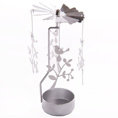 NEW METAL BIRD IN TREE TEA LIGHT POWERED SPINNING CANDLE HOLDER DECORATION SP14