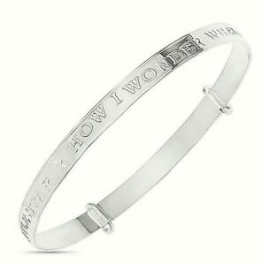 925-Sterling-Silver-Newborn-Baby-Bracelet-Christening-Birthday-Expandable-Bangle